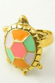 "Pastel Colorful Turtle Ring $12 -- A must-have cocktail ring to go with your mint, pink or peach outfits! Gold tone adjustable turtle ring with multi-colored pastel shell.  Turtle measures approx 1 3/8"" length x 1"" width (35mm x 25mm)."