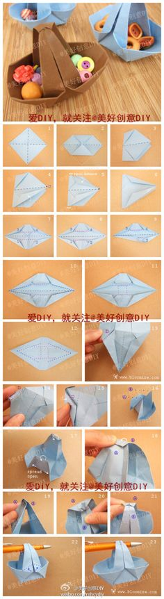 Wide Origami Basket {Origami} Create this wide origami basket with simple step by step instructions. This basket would make a wonderful table decorations for… Diy Origami, Origami And Kirigami, Paper Crafts Origami, Origami Tutorial, Oragami, Origami Design, Origami Triangle, Origami Butterfly, Fashion Bubbles