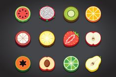 Flat Fruit Icons Set by FoxladyDesign on Creative Market