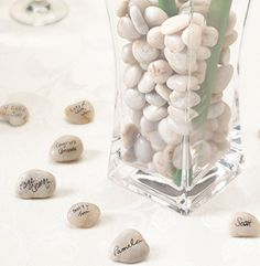 Guest Signing Stones with Vase.