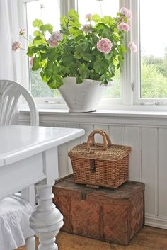 I have the exact picnic basket and a small wooden chest!  This is why I love Pinterest !