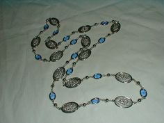 vintage blue crystal necklace silver by qualityvintagejewels