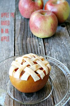 apple pie baked in an apple {skinny wednesdays} - By baking the pie in the apple, in place of all that crust, the calories are slashed, along with a lot of the fat. You get all of the great apple and cinnamon taste, with just a bit of crust.