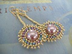 Seed Bead Earrings - Venus Rising Beadwork Earrings by WorkofHeart on Etsy https://www.etsy.com/listing/191804207/seed-bead-earrings-venus-rising-beadwork