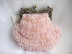 LS5308 pink beaded evening handbag purse antique style $15.99