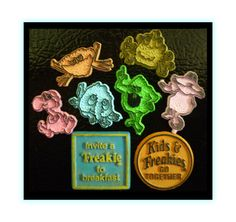 1970's Ralston Freakies Cereal Magnets. These little magnets were popular prizes in cereal boxes of all kind.