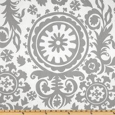 Window Treatments 2 Beautiful Suzani Grey and White Curtain Panels 25 x 84. $59.00, via Etsy.