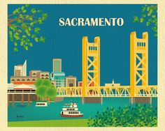 Sacramento, California Skyline Destination Print - Travel Wall Art - for Home, Office, and Nursery - style Sacramento California, Sacramento Bridge, California Tourist Attractions, Places In California, California California, Voyage Usa, Travel Wall Art, Skyline Art, Graphic Design Posters
