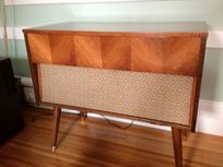 Mid Century Modern Sterophonic Record Player Cabinet Table -  $245