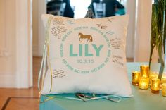 Bat Mitzvah Sign-in Pillow with Logo {Party Planner: The Event of a Lifetime, Ellen Dubin Photography} - mazelmoments.com