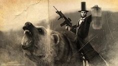 Lincoln riding a bear wielding a machine gun