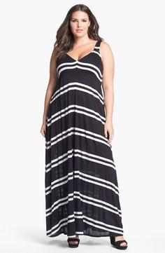 Eight Sixty Stripe Jersey Maxi Dress (Plus Size) | Nordstrom