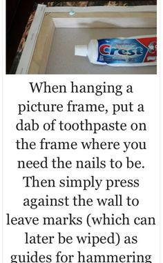 Life hacks Household ideas Hanging pictures Tips Tricks Nails Nail holes Picture frames Simple Life Hacks, Useful Life Hacks, Lifehacks, Cuadros Diy, Hanging Pictures, Picture Hanging Tips, Do It Yourself Home, Home Hacks, Good To Know