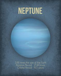 Planet Poster Neptune Wall Art Print Available by GetYourNerdOn