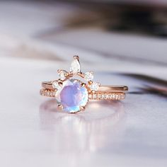 Moonstone Engagement Ring Art Deco Wedding Ring Round Cut Rose