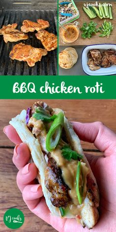 These delicious barbecue chicken roti are filled with cucumber and slaw. Topped with a homemade peanut satay sauce- Served in a crispy roti. Crispy Chicken Salads, Grilled Bbq Chicken, Chicken Slices, Fish And Chicken, How To Cook Steak, How To Cook Chicken, Lamb Recipes, Sauce Recipes, Chicken Roti Recipe