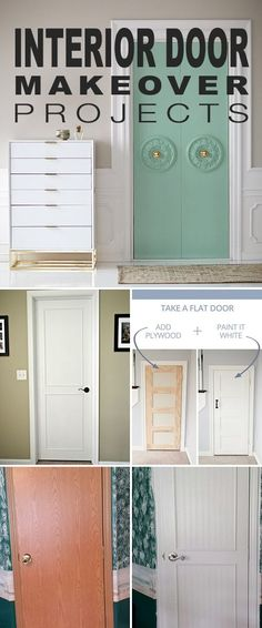 Interior Door Makeover Projects! • These great DIY interior door makeover projects and tutorials show you how to take what you have and add a little DIY ingenuity to create a more upscale, custom home loo
