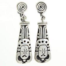 Los Castillo Sterling Aztec Mayan Design Earrings VINTAGE Taxco Mexico VINTAGE