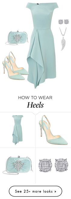 """Aqua"" by chauert on Polyvore featuring Roland Mouret, Badgley Mischka, Betsey Johnson and rolandMoret"