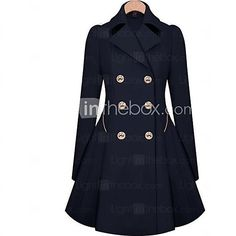 Women's Solid Blue/Beige Trend Coat,Casual Long Sleeve Cotton Button 2017 - $7.99