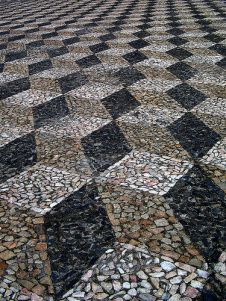 Calçada Portuguesa Visit the post for more. Pebble Mosaic, Mosaic Art, Pebble Stone, Stone Art, Landscaping With Rocks, Backyard Landscaping, Paver Designs, Paving Pattern, Paving Stones
