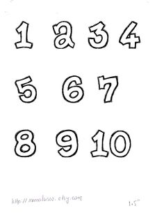 Free Number Templates 1-10 for Applique