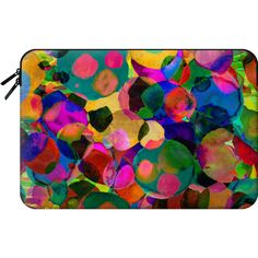Macbook Sleeve - Rainbow Spot Laptop Case ($60) ❤ liked on Polyvore featuring accessories, tech accessories, macbook sleeve, macbook laptop case, macbook pro laptop case, laptop sleeve cases and polka dot laptop case
