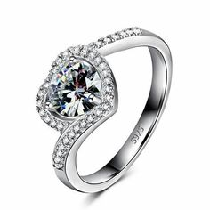 Love heart ring covered in diamond