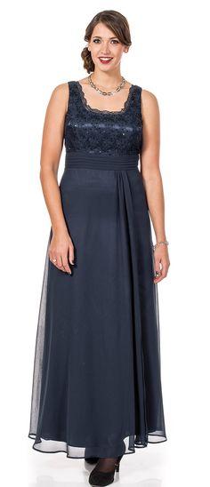 sheego Style Abendkleid mit Spitze - rauchblau | Damenmode online kaufen