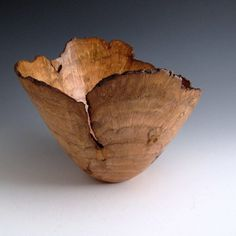 turned wood bowl | Rustic Natural Edge Cherry Burl Wood Turned Bowl