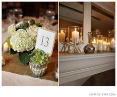 Mercury glass vases used for table numbers