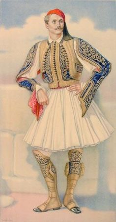 Greek Town Costume of the Peloponesus including Fustanella - Greek Costume Collection by NICOLAS SPERLING (Russia 1881-1940 / act: Athens).