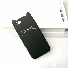 Hot Sale! 3D Cute Black Cat Ears Beard Phone Cases For iphone 5 5s Se 6 6S 6Plus 7 7Plus Soft Silicone Cartoon Cover Funda Coque