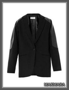 セレブ多数愛用★MaxMara(マックスマーラ)★Cantore jacket 大人クールなシンプルブラックカラーに、最高級のきめ細かいレザーのショルダーパネルデザインは  シンプルながらも、人目を引くデザイン!