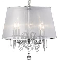 Modern, elegant 5 light ceiling pendant in a polished chrome finish complete with a translucent white voile shade. Ideal in master bedrooms. Ceiling Chandelier, Chandelier, White Chandelier, 5 Light Chandelier, Ceiling Pendant Lights, Chandelier Lighting, Farmhouse Lighting, Drum Pendant Lighting, Lights