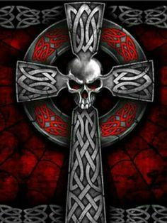 Celtic cross skull red