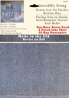 These #iron on denim jean patches are used to cover holes or reinforce worn jeans. They apply in seconds and last an incredible #number of wash and dry cycles. Ac...