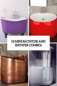 Mini bathtubs and mini bathtub shower combos go a long way to mitigating the pro. Mini bathtubs and mini bathtub shower combos go a long way to mitigating the problem of a small bat Mini Bathtub, Bathtub Shower Combo, Small Bathtub, Small Soaking Tub, Bathtubs For Small Bathrooms, Japanese Soaking Tubs, Small Condo, Soaker Tub, Tiny House Bathroom