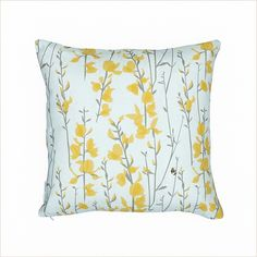 Lorna Syson Broom & Bee Sky 45cm x 45cm Cushion - Pomegranate Living