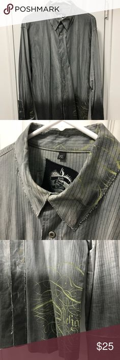 Black Hearts Brigade Button Down XL XL Black Hearts Brigade Grey button down in an ombre styled design. Black Hearts Brigade Shirts Casual Button Down Shirts