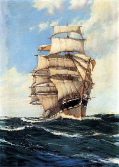 Montague Dawson - RMSA, FRSA was a British painter who was renowned as a maritime artist. His most famous paintings depict sailing ships, usually clippers or warships of the and centuries. Ship Paintings, Landscape Paintings, Montague Dawson, Moby Dick, Bateau Pirate, Old Sailing Ships, Boat Painting, Nautical Art, Ocean Art