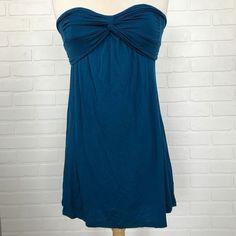 Teal Blue Strapless Shirt Tube Top Women's Size Sz S Small Flowy Loose USA Made #Twentyone #TubeTop