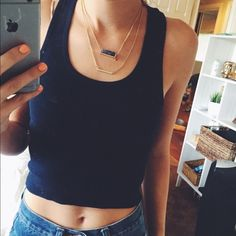 FOREVER 21 RAZORBACK CROP TOP Cute and casual navy blue crop top Forever 21 Tops Crop Tops