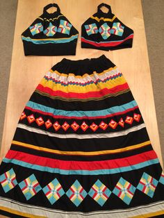 """Seminole Patchwork skirt with two halter tops by *Phyllis Fife* (Muscogee/Creek) - Private collection of Pam Ifandy. Beautifully pieced and professionally designed and tailored with lined skirt and halter tops. Skirt measures a 26"""" waist and 43"""" length"""