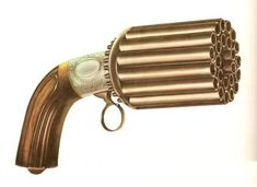 when percussion cap technology was invented, the industrial revolution was in full swing and this enabled pepper-box revolvers to be mass produced. This made these revolvers much cheaper and thus affordable to a lot more people.  Image is a 24-barrel pepper-box revolver using percussion cap technology. made in the 1850s by a Belgian gun maker called Mariette. The user would load each barrel individually and then put a percussion cap on each of the nipples sticking out at the back of each…