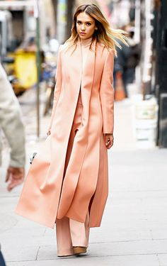 Jessica Alba wore a whole lot of peach strolling through NYC March 10.