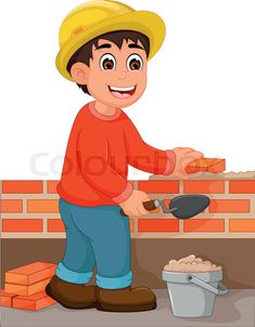 "Buy the royalty-free Stock vector ""vector illustration of cute builder cartoon in action with"" online ✓ All rights included ✓ High resolution vector fil. Teacher Cartoon, Cartoon N, Delivery Man, Community Helpers, Royalty Free Images, Arabic Alphabet, Clip Art, English, Stock Photos"