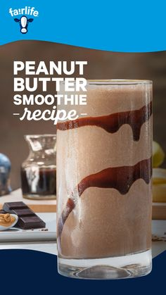 Chocolate, peanut butter, and fairlife ultra-filtered milk with 50 more protein than regular chocolate milk. Try our Chocolate Peanut Butter Smoothie recipe today. Peanutbutter Smoothie Recipes, Chocolate Peanut Butter Smoothie, Banana Pudding Recipes, Peanut Butter Cookie Recipe, Chocolate Recipes, Cheesecake Recipes, Cupcake Recipes, Dessert Recipes, Sangria Recipes