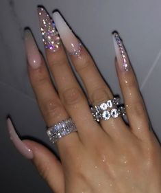 Cute acrylic nails are offered on our website. Check it out and you wont be sorry you did. Bling Acrylic Nails, White Acrylic Nails, Best Acrylic Nails, Summer Acrylic Nails, Rhinestone Nails, Bling Nails, Swag Nails, Summer Nails, Nail With Rhinestones