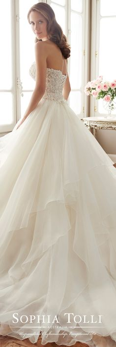 Sophia Tolli Spring 2017 Wedding Gown Collection - Style No. Y11716 Tropez - two-piece strapless organza wedding dress with tiered petal skirt